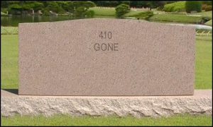 """Tombstone with \""""410\"""" GONE engraved"""